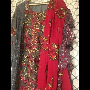 Pakistani embroidered chiffon dress original